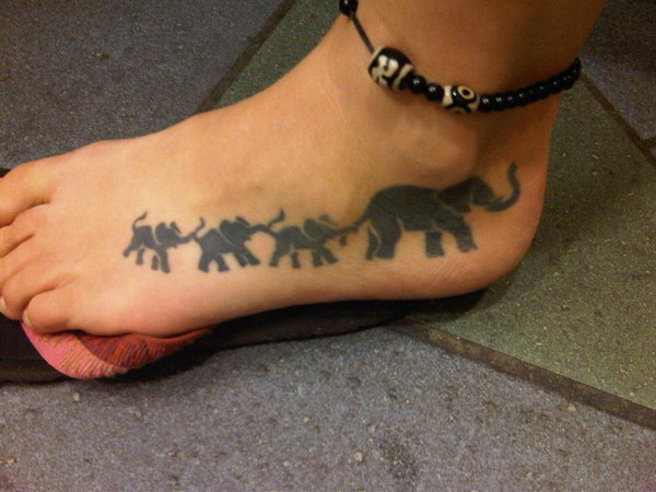 Elephant Mother and Baby Foot Tattoo.