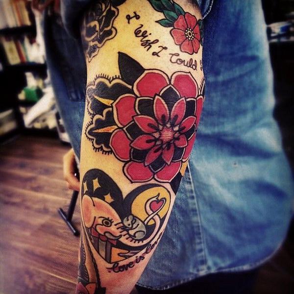 Native Elephant Arm Tattoo.