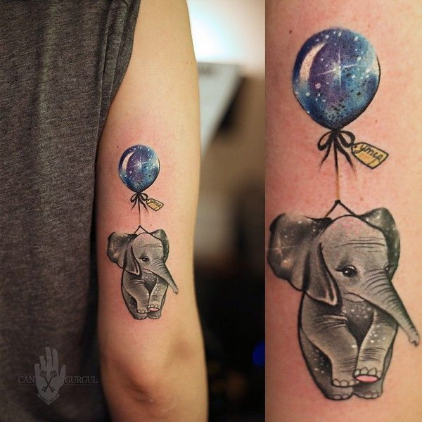 Cute Elephant and Balloon Tattoo.