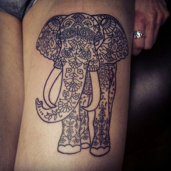 Charming Thigh Elephant Tattoo.