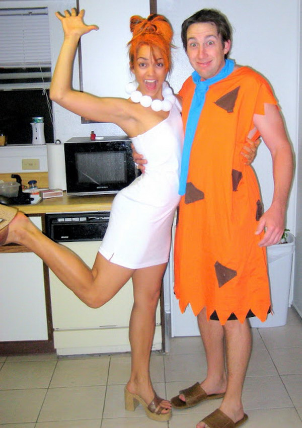 DIY Fred and Wilma Couple Costume.