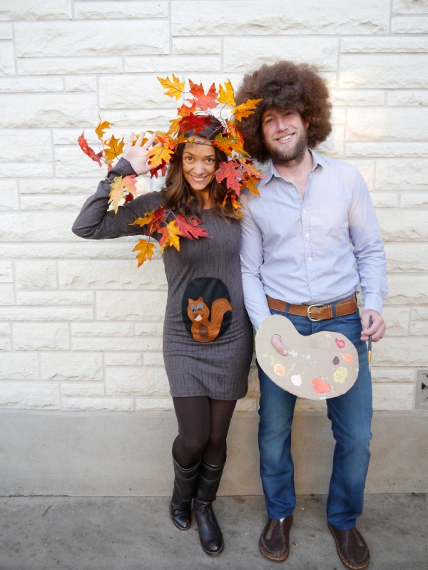 Bob Ross and Happy Tree Family Costume.