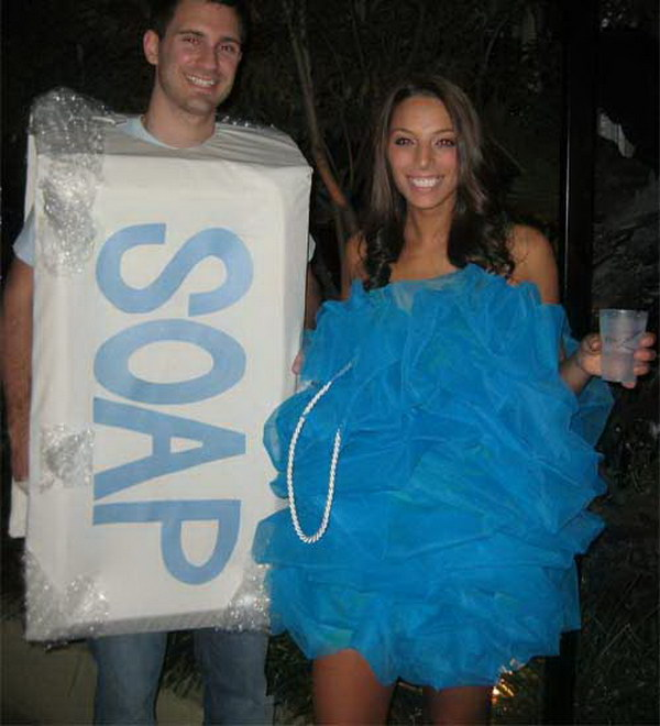 Soap and Loofah Couple Costume for Halloween.