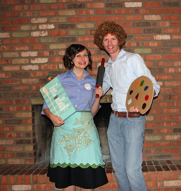 Julia Child and Bob Ross Couple Costumes.