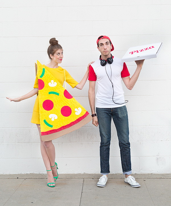 DIY Pizza Slice and Delivery Boy Couples Costume.