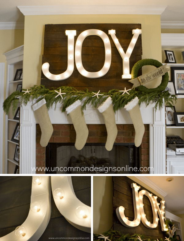 DIY Holiday Mantel Joy Marquee Sign
