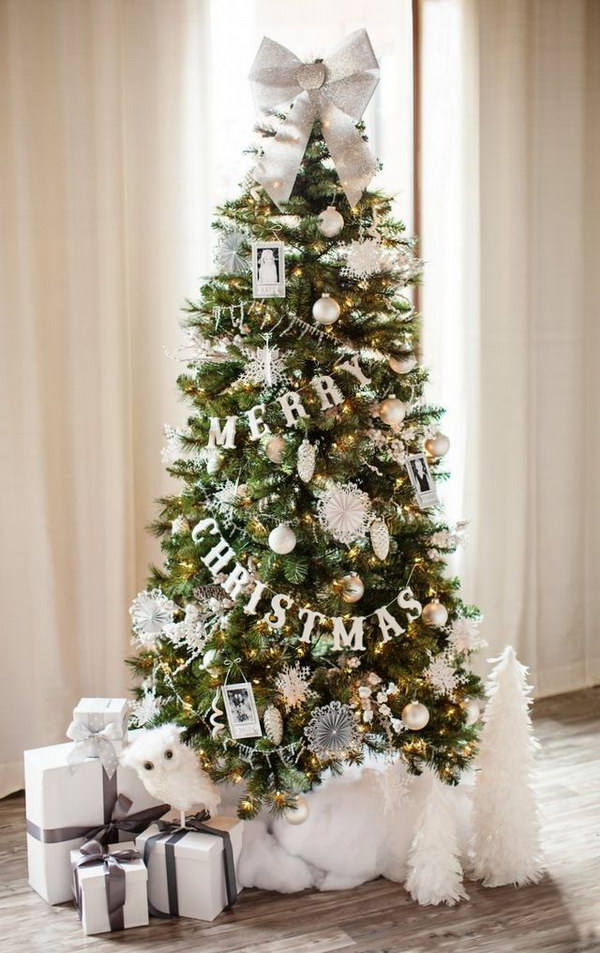 White and Silver Glittery Christmas Tree Tutorial