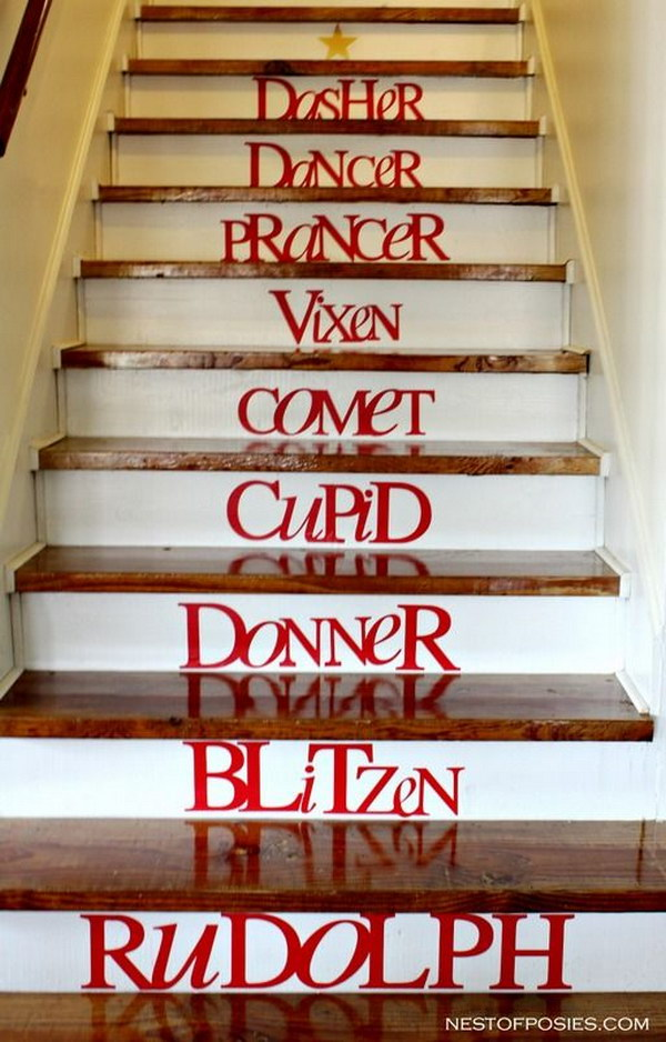reindeer stairs - How To Decorate A Staircase For Christmas With Deco Mesh