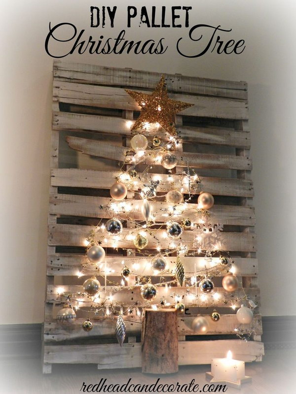 DIY Lighted Pallet Christmas Tree.