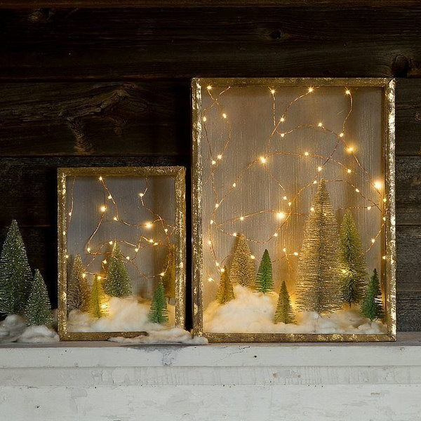 DIY Snow Kissed Forrest in Shadow Box