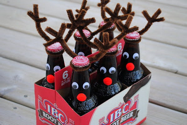 a pack or two of your favorite beer can be the perfect present when turned into cute little reindeers see the tutorial via life of a modern mom