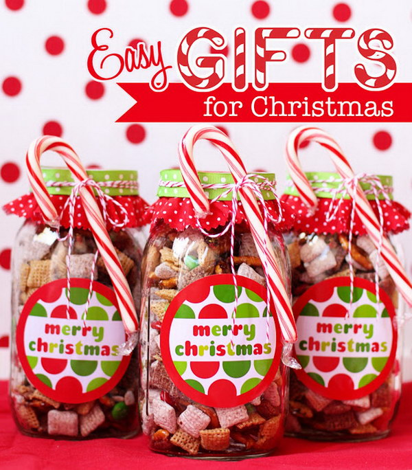 Merry Christmas Gift Idea No Bake Chocolate Chex Mix in Mason Jars.