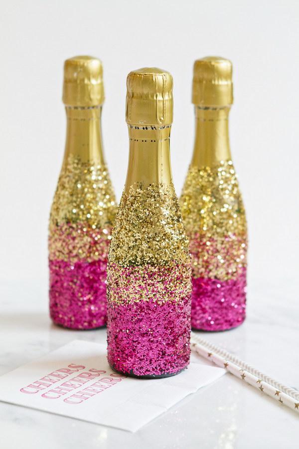 DIY Glitter Champagne Bottles.