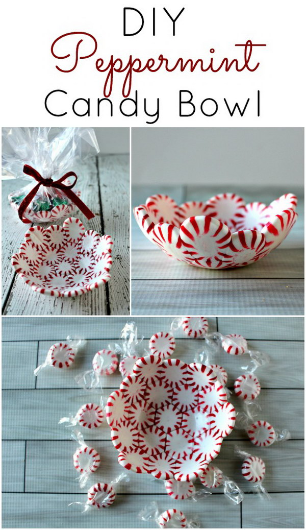 DIY Peppermint Candy Bowls.