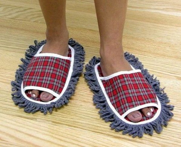 Mop Slippers. These mop slippers makes cleaning the floor fun and easy. They are perfect gag gifts for white elephant parties.