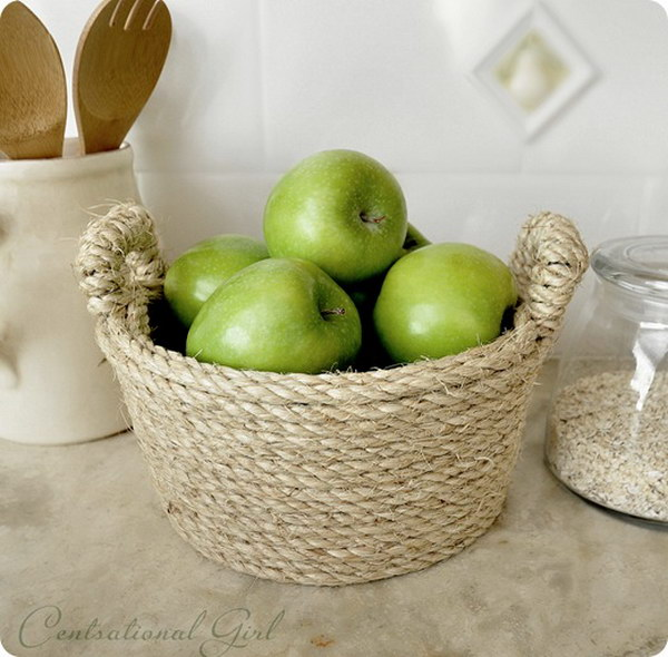 DIY Sisal Rope Bowl. This beautiful rope wrapped bowl can be made in less than an hour and makes a perfect gift for your hostess!