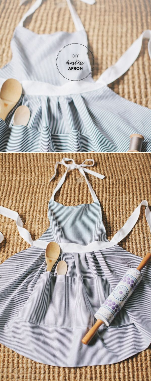 DIY Hostess Apron. A DIY apron with a pocket for spoons! What a cute gift idea for hostess in your life!