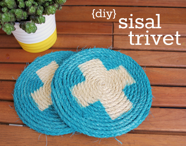 DIY Sisal Coasters. Make trivets or coasters from sisal and add a trendy pattern like a swiss cross for a personalized hostress gift.