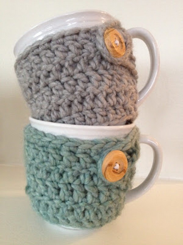 Crochet Mug Cozies. If you are a crochet lover, you can try this cute and warm mug cozy for a hostess gift. Super easy, inexpensive and warm gift idea!