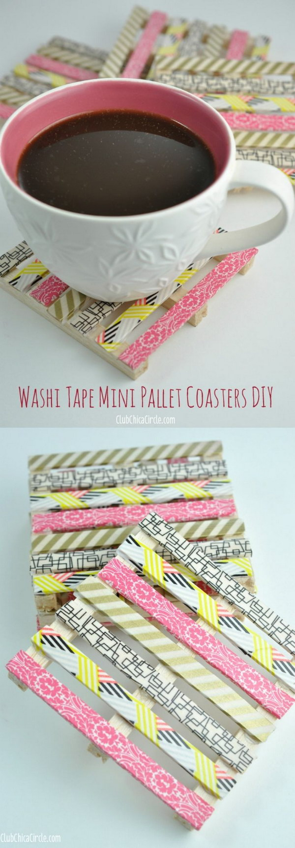 Washi Tape Mini Wood Pallet DIY Coasters. Make stylish coasters with washi tape and mini wood pallets. These can be used as creative housewarming or hostess gifts.