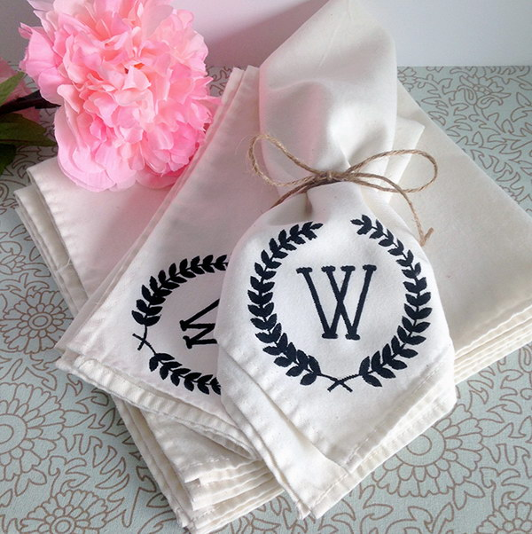 DIY Monogram Napkins. This monogram napkin is so much easier to make and also makes a really sweet handmade gift idea.