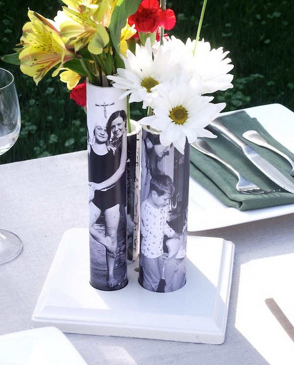 DIY Picture Vase from A PVC Pipe. These beautiful photo bud vases are made from PVC pipes. They make gorgeous centerpieces or gifts.