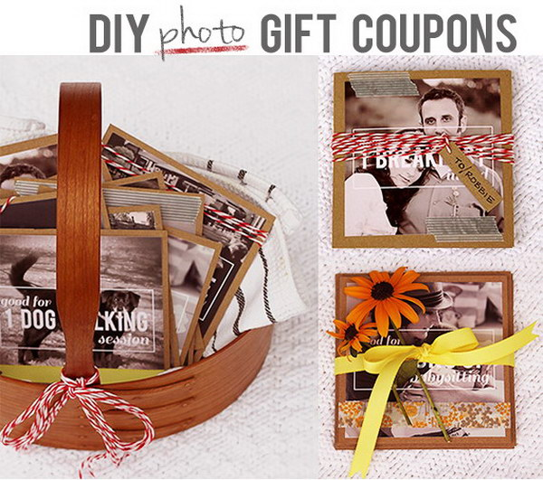 DIY Photo Gift Coupons. Use your favorite photos to make a personalized photo coupon set. It makes great and affordable gift on any occasion.