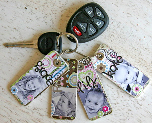 DIY Photo Key Chains. You can use your favorite photos to make this frugal and easy key chain for yourself or used as a gift.