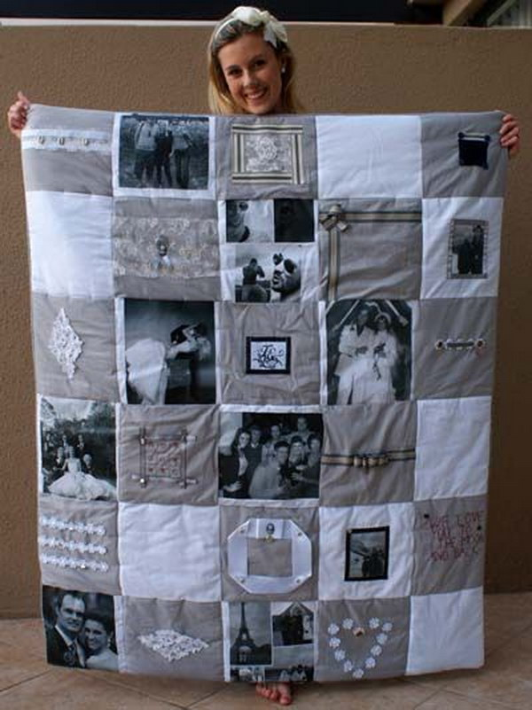 20 diy photo gift ideas tutorials diy photo memory quilt a very pretty and personal gift you can make it solutioingenieria Choice Image