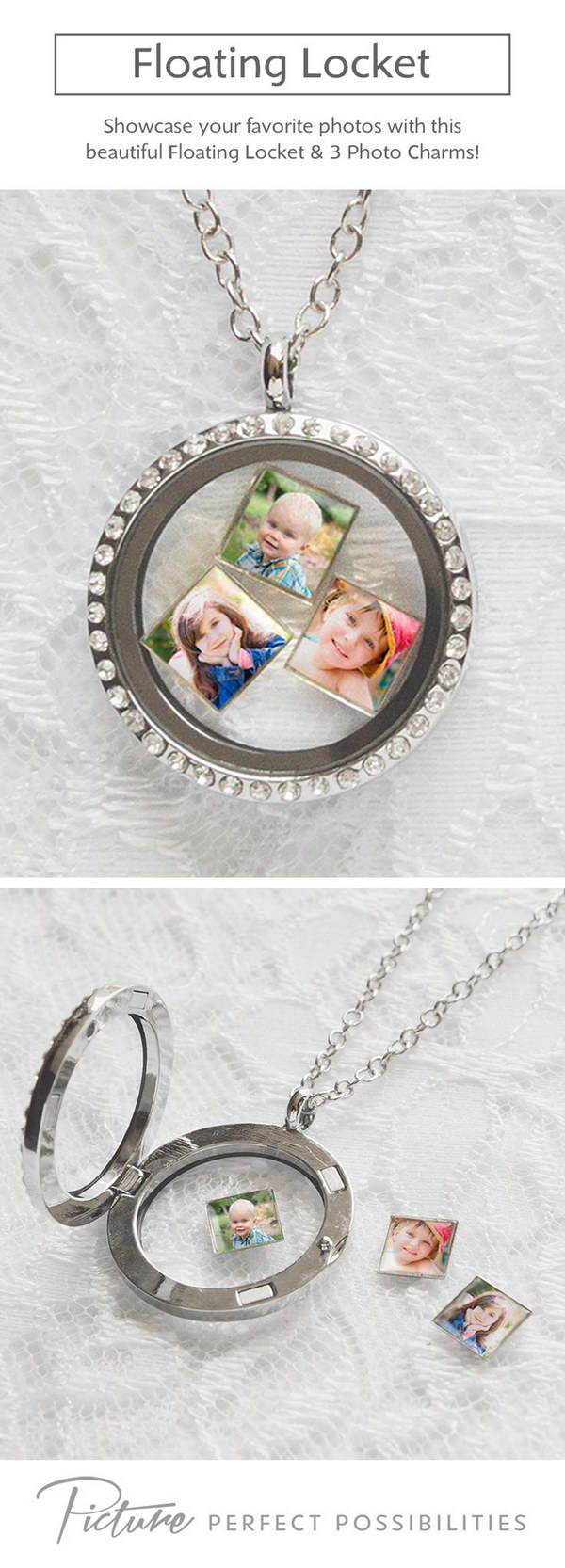 Floating Photo Necklace. This floating locket comes embellished with stones, a chain link necklace, and three floating photo charms.