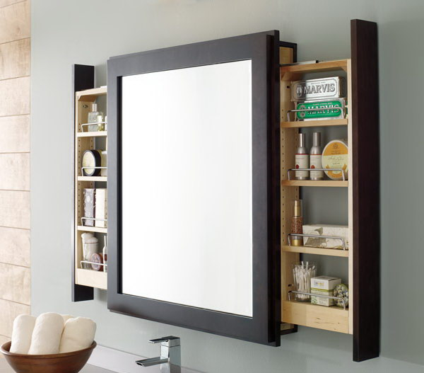 Bath Mirror With Side Pull Out Shelves.