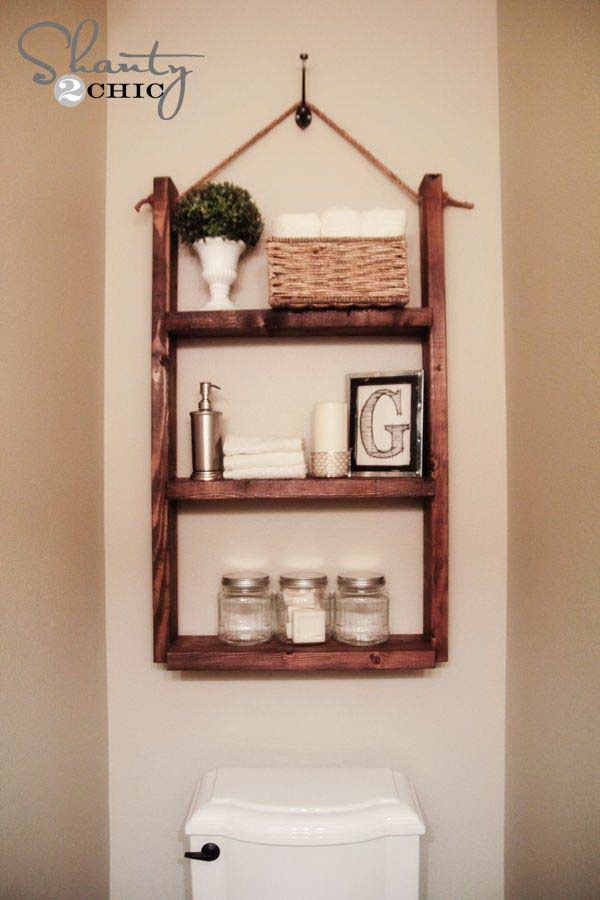 DIY Hanging Bathroom Shelf for only $10.
