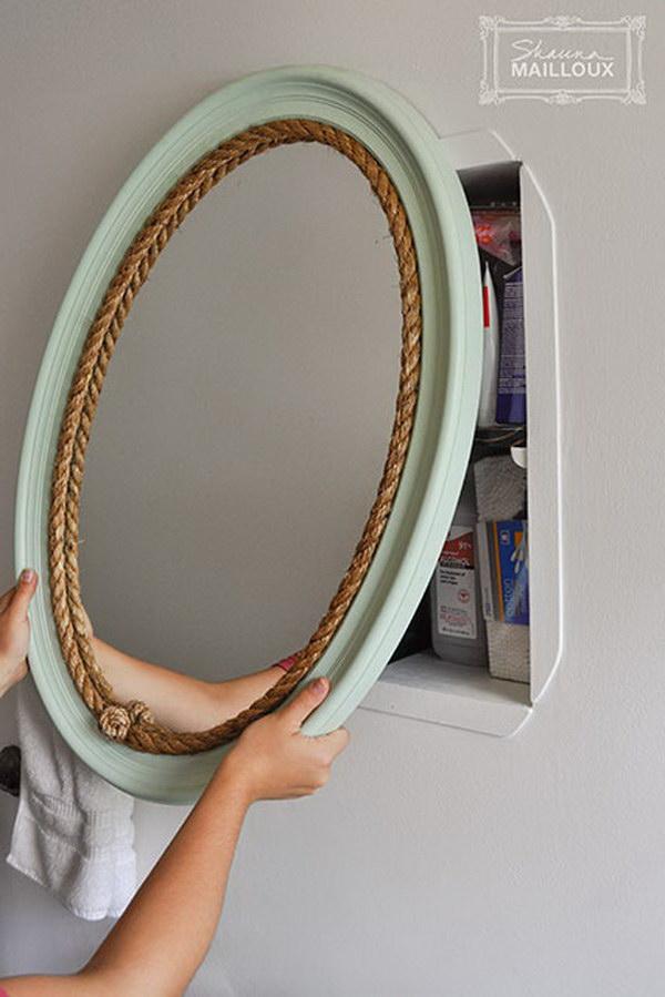 Hidden Shelf Behind Mirror.