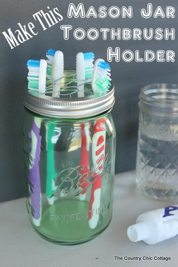 Mason Jar Toothbrush Holder.