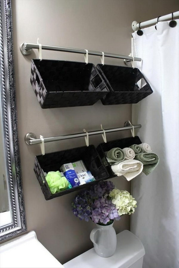 Towel Rods with Baskets.