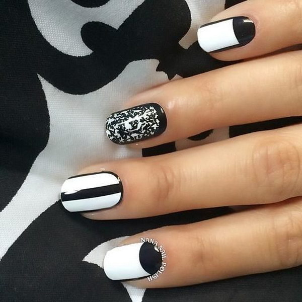 Stylish Black and White Nail Art Design - 80+ Black And White Nail Designs
