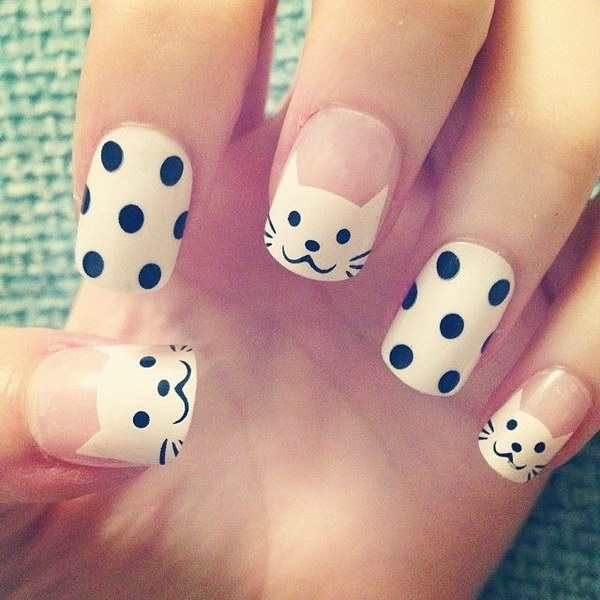 Cute Black White Cat and Polka Dots Nails - 80+ Black And White Nail Designs