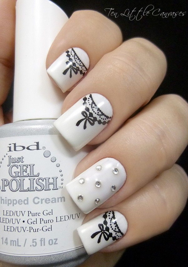 Pretty Black and White Ribbon Nail Art