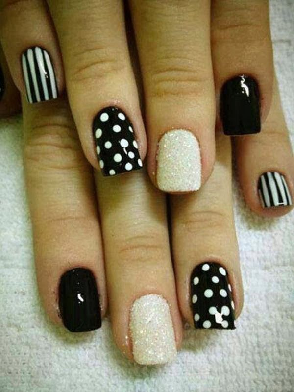 Polka Dots and Stripes with Glitter Accent Nail Art