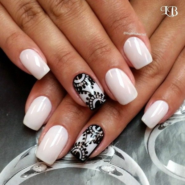 Elegant Black Lace on White Nails - 80+ Black And White Nail Designs
