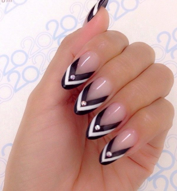 80 black and white nail designs nude almond nails with black and white chevron tips prinsesfo Gallery