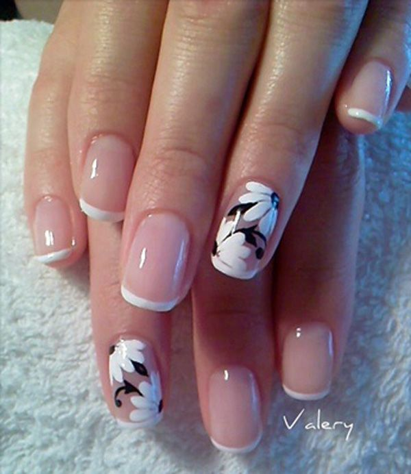 80 black and white nail designs elegant flower french tips prinsesfo Images