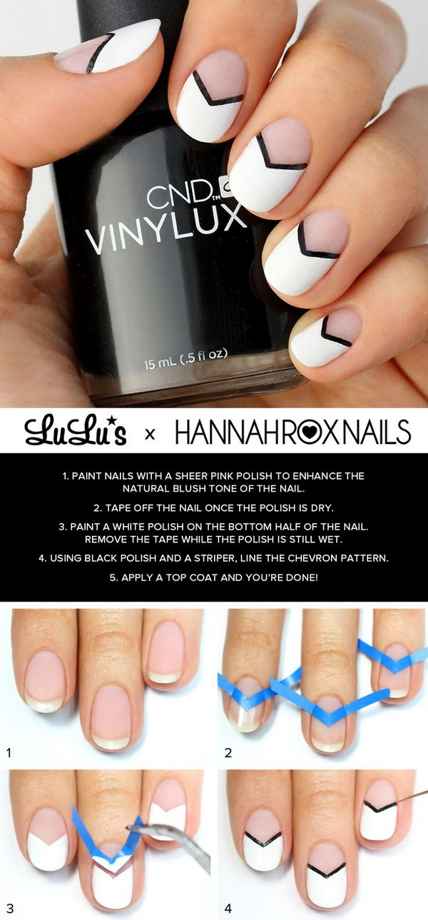 Black and White Chevron Nails
