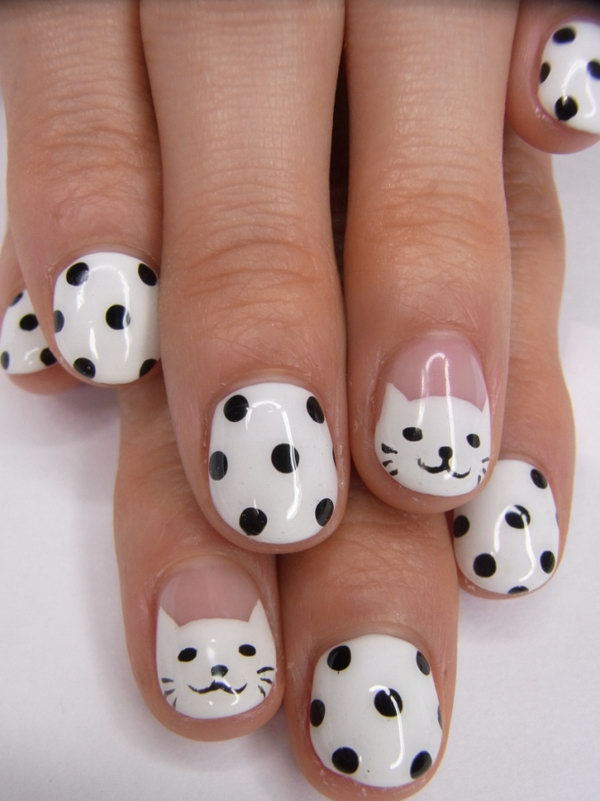 Smiley Kitties Black and White Polka Dot Nails