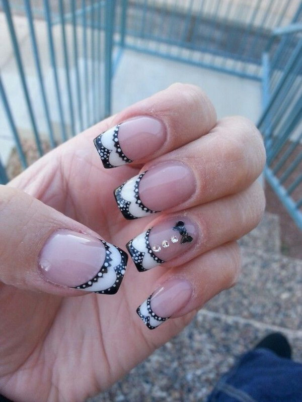 Adorable Black and White French Nails