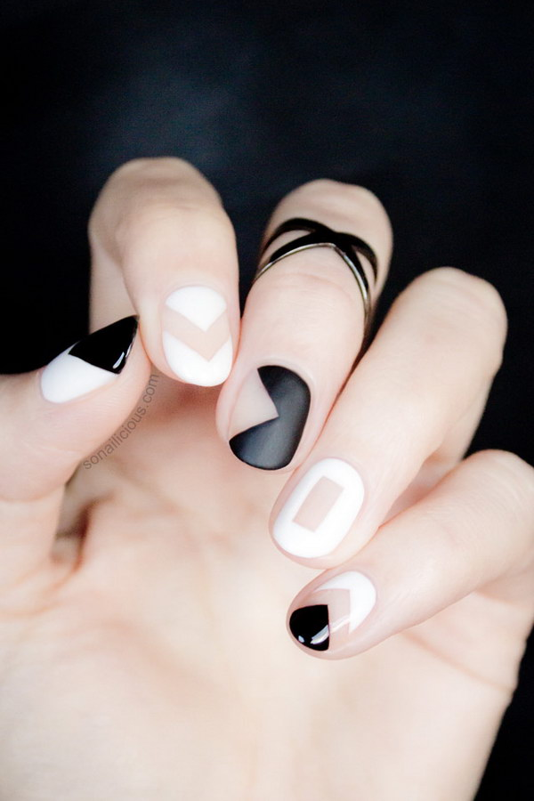 Black and White Negative Space Nails