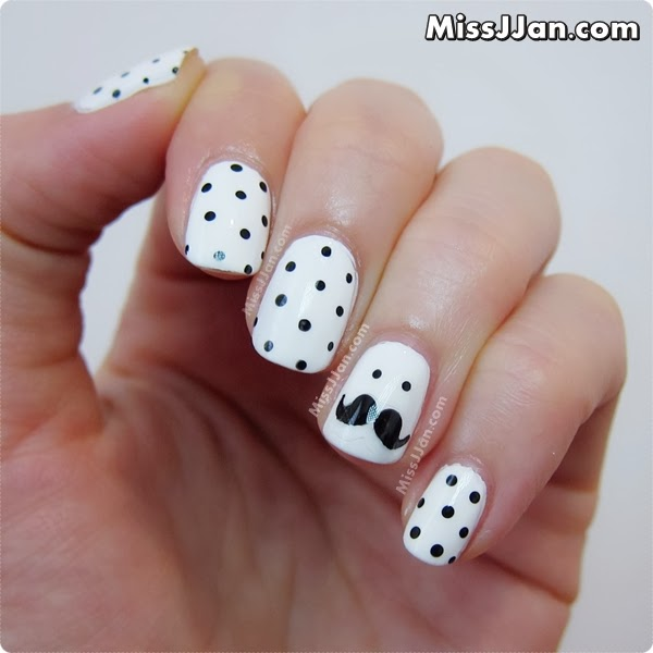 Polka Dots with Moustache Accent Nail Art