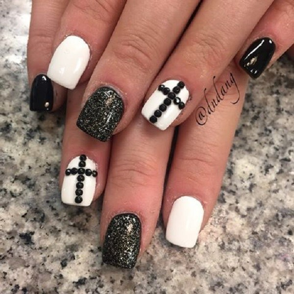 Black Beaded Cross Accented Balck and White Nails