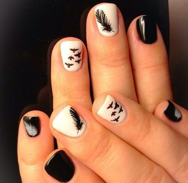 Black and White Birds, Feathers Acrylic Nail Designs
