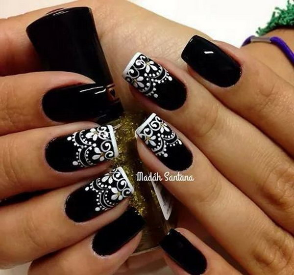 80 black and white nail designs white lace on black nails prinsesfo Choice Image